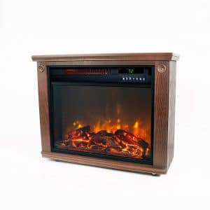 Lifesmart Infrared Quartz Electric Fireplace Stove- Oak Finish with Remote