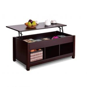 Tangkula Lift Top Wood Storage Coffee Table (Brown with Lower Shelf)