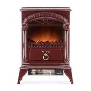e-Flame USA Portable Electric Stove (Rustic Red) - Realistic & Brightly Burning Logs